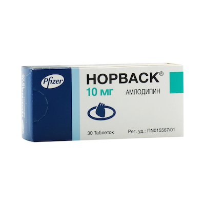 Norvask (amlodipine besylate) tablets 10 mg. №30