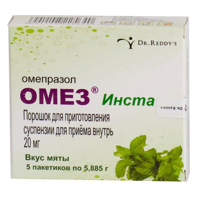 Omez Insta (omeprazole) powder for oral suspension sachet 20 mg. №30