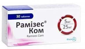 Ramizes Com (ramipril) tablets 5 mg/25 mg. №30