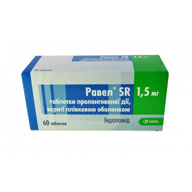 Ravel SR (indapamid) tablets 1.5 mg. №60