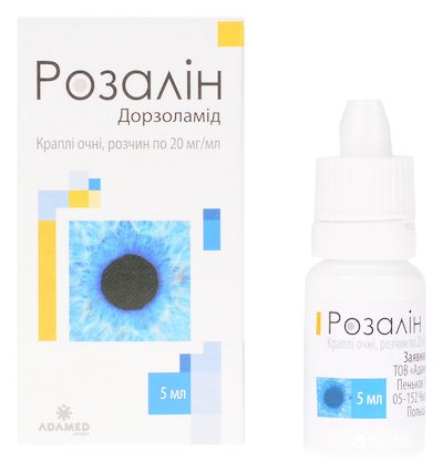 Rozalin (dorzolamide) eye drops solution 20 mg/ml. 5 ml. vial №1 with capel.