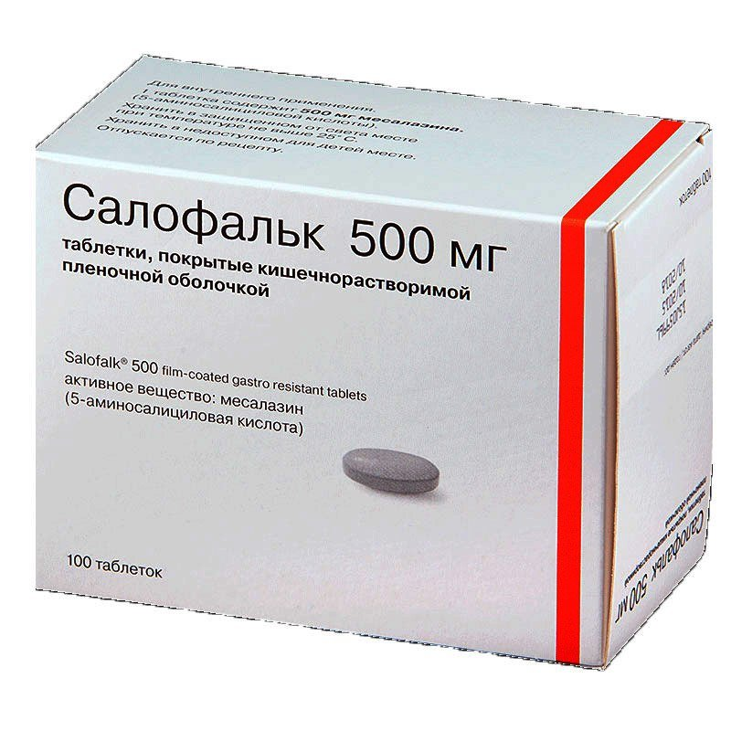 Salofalk (mesalazine) coated enteric tablets 500 mg. №100