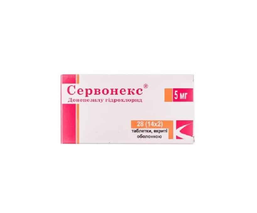 Servonex (donepezil) coated tablets 5 mg. №28