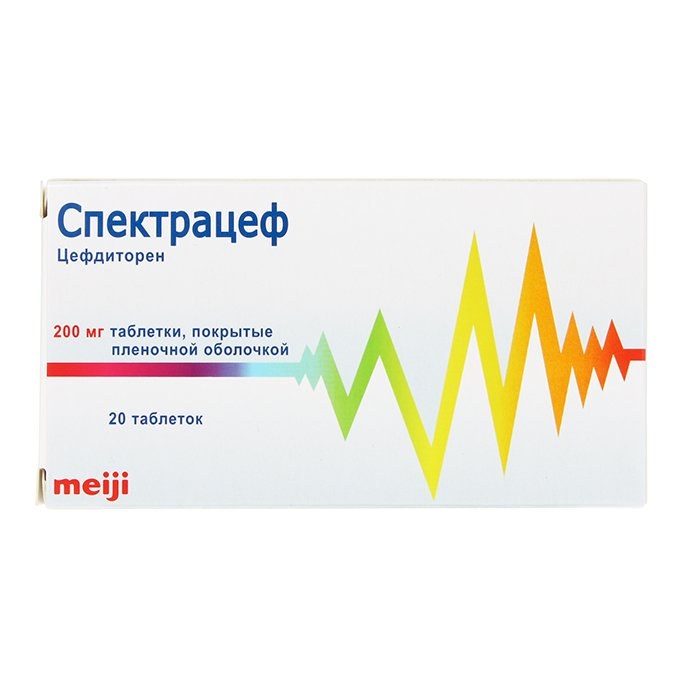 Spectracef (cefditoren) coated tablets 200 mg. №20
