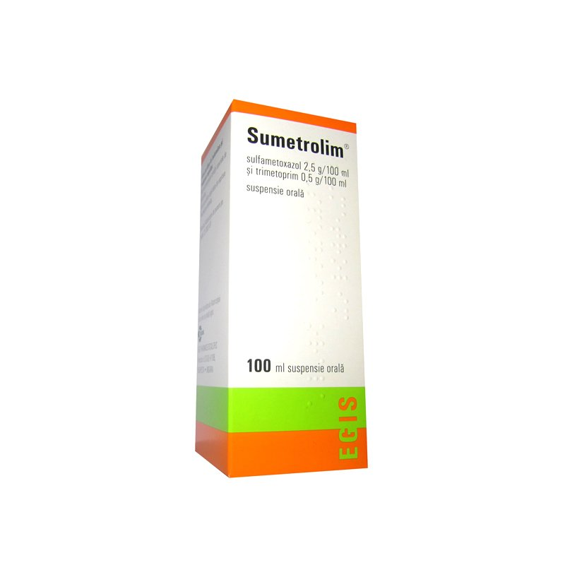 Sumetrolim (sulfamethoxazole) oral suspension 100 ml. vial