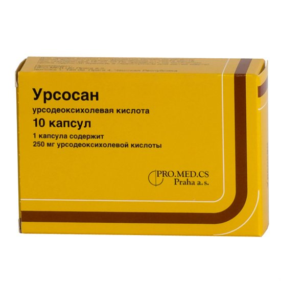 Ursosan (ursodeoxycholic acid) capsules 250 mg. №10