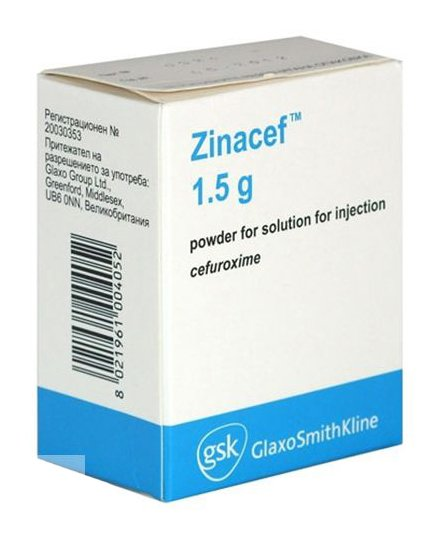 Zinacef (cefuroxime) powder for solution for injections 1500 mg. №1 vial