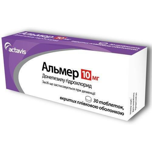 Almer (donepezil hydrochloride) coated tablets 10 mg. №30