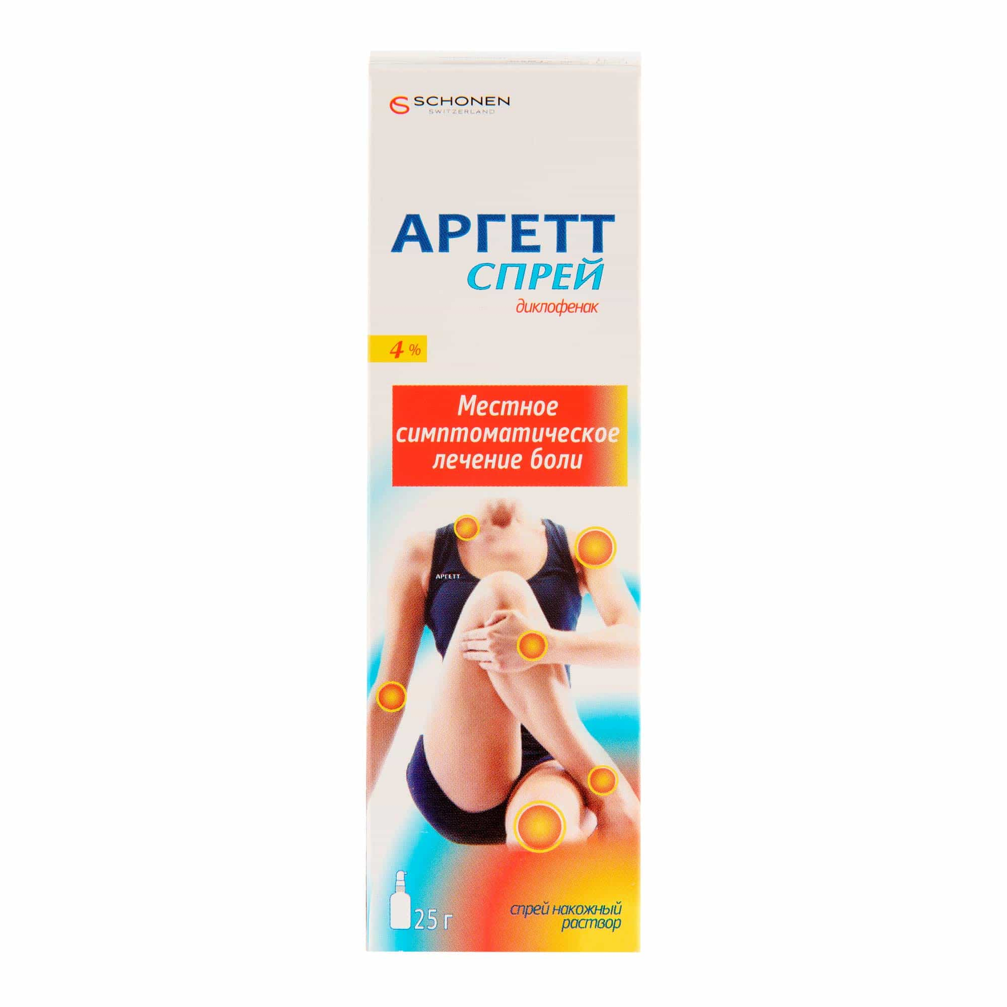 Argett (diclofenac sodium) spray nacoj. solution 4% 25 g. vial