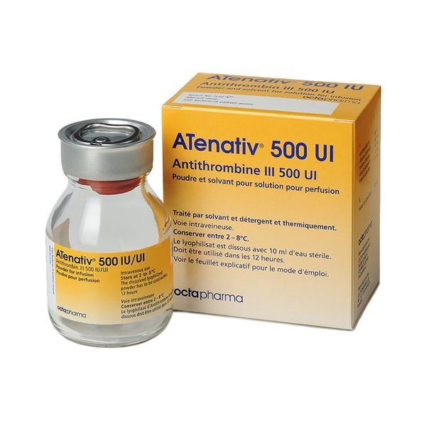 Atenativ (antithrombin i) 500 IU antithrombus i №1 vial + solvent 10 ml.