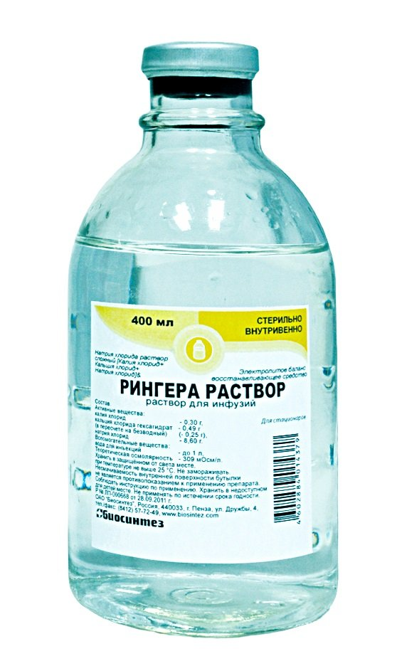 Ringer (sodium chloride, potassium chloride) solution for infusions 400 ml.