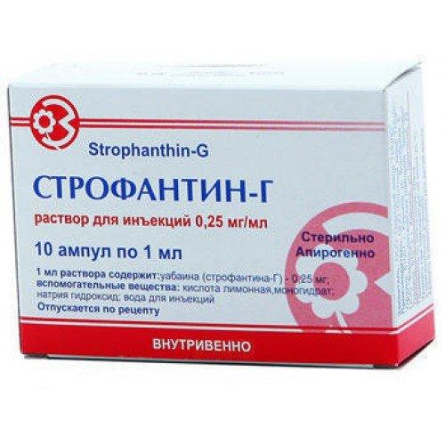 Strofantin-G (g-strophanthin) 0.025% 1ml. ampoules №10